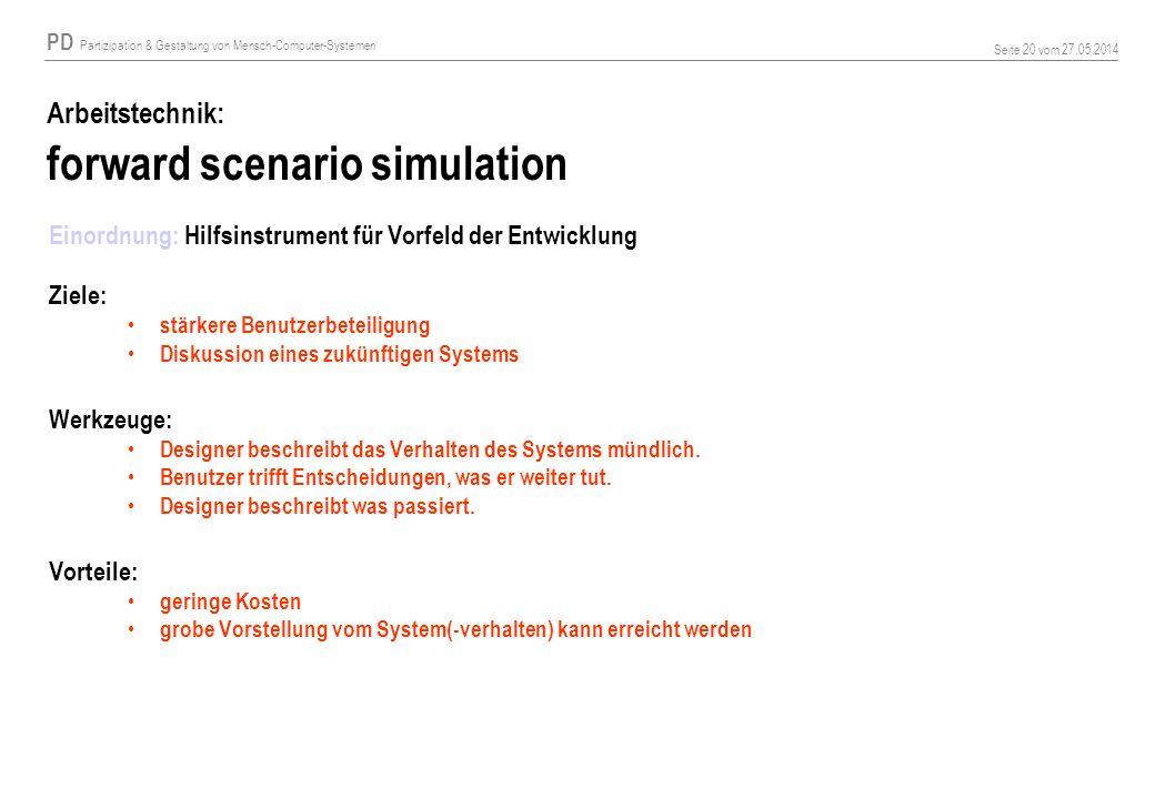 PD Partizipation & Gestaltung von Mensch-Computer-Systemen Seite 20 vom 27.05.2014 Arbeitstechnik: forward scenario simulation Einordnung: Hilfsinstru