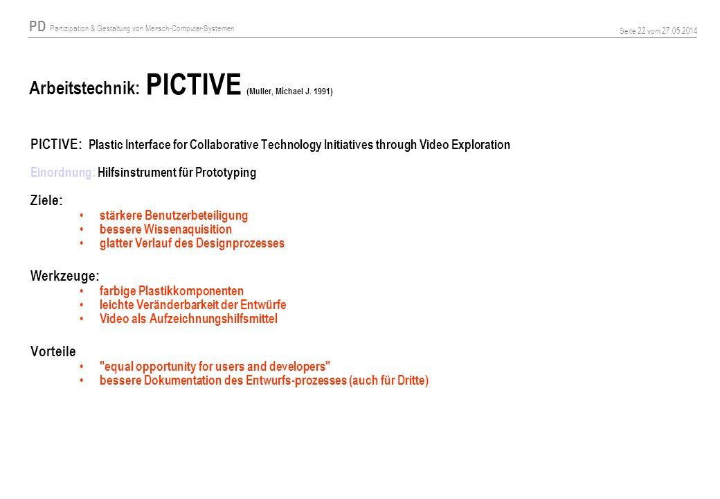 PD Partizipation & Gestaltung von Mensch-Computer-Systemen Seite 22 vom 27.05.2014 Arbeitstechnik: PICTIVE (Muller, Michael J. 1991) PICTIVE: Plastic
