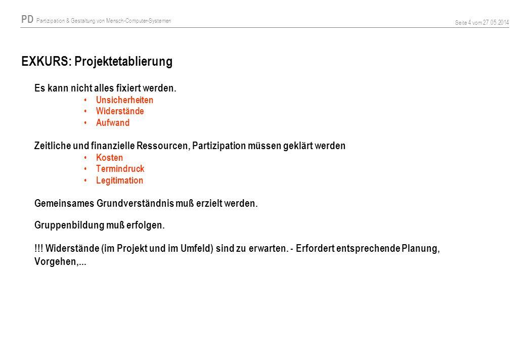 PD Partizipation & Gestaltung von Mensch-Computer-Systemen Seite 4 vom 27.05.2014 EXKURS: Projektetablierung Es kann nicht alles fixiert werden. Unsic