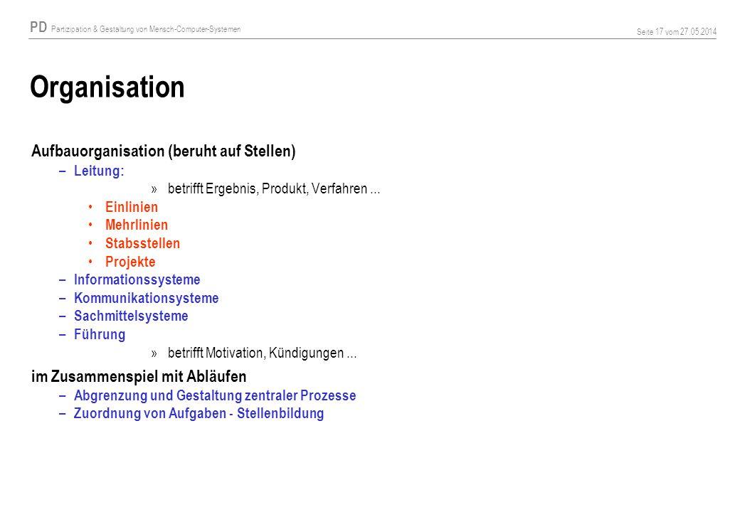 PD Partizipation & Gestaltung von Mensch-Computer-Systemen Seite 17 vom 27.05.2014 Organisation Aufbauorganisation (beruht auf Stellen) – Leitung: »betrifft Ergebnis, Produkt, Verfahren...