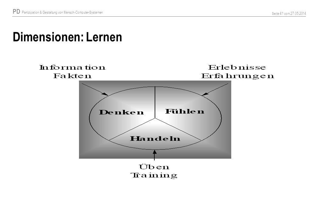 PD Partizipation & Gestaltung von Mensch-Computer-Systemen Seite 41 vom 27.05.2014 Dimensionen: Lernen