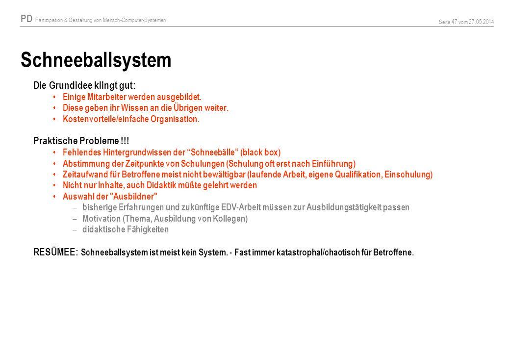 PD Partizipation & Gestaltung von Mensch-Computer-Systemen Seite 47 vom 27.05.2014 Schneeballsystem Die Grundidee klingt gut: Einige Mitarbeiter werden ausgebildet.
