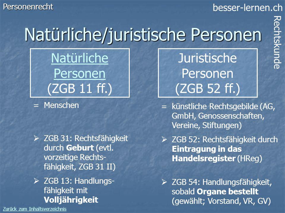 besser-lernen.ch Rechtskunde Zurück zum Inhaltsverzeichnis 10 Natürliche/juristische Personen Natürliche Personen (ZGB 11 ff.)Personenrecht =Menschen