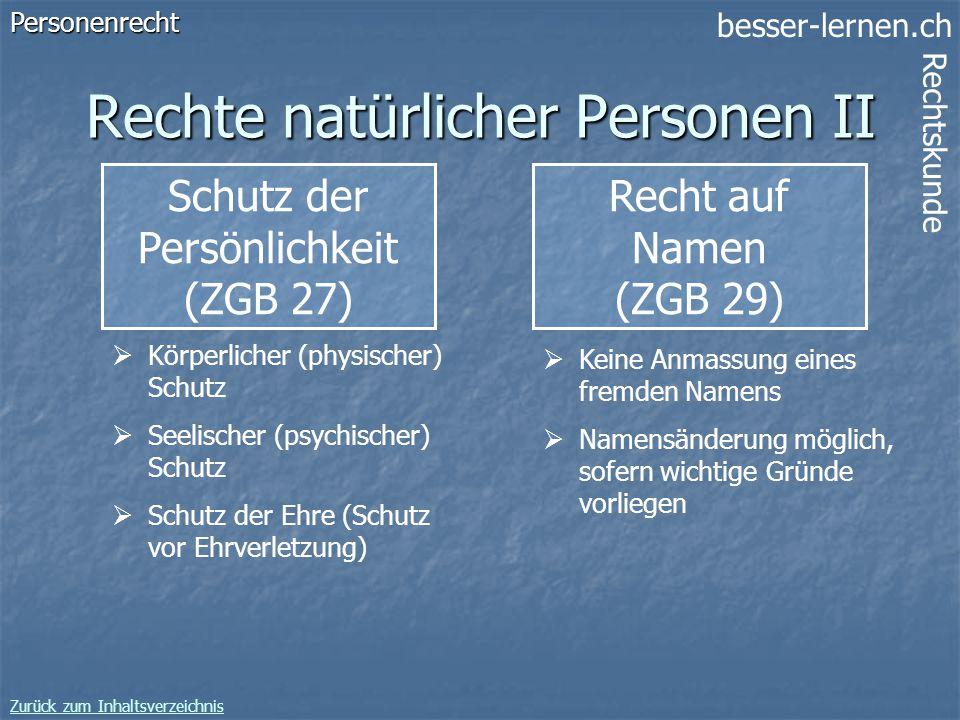 besser-lernen.ch Rechtskunde Zurück zum Inhaltsverzeichnis 12 Rechte natürlicher Personen II Schutz der Persönlichkeit (ZGB 27)Personenrecht Körperlic