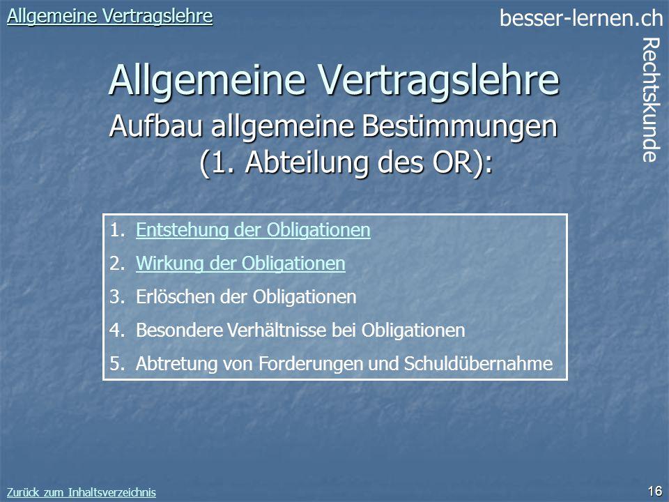 besser-lernen.ch Rechtskunde Zurück zum Inhaltsverzeichnis 16 Allgemeine Vertragslehre Allgemeine Vertragslehre Allgemeine Vertragslehre 1.Entstehung