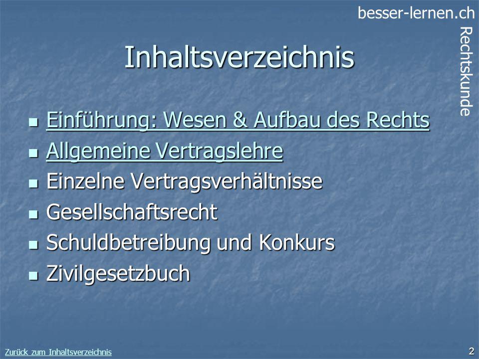 besser-lernen.ch Rechtskunde Zurück zum Inhaltsverzeichnis 2 Inhaltsverzeichnis Einführung: Wesen & Aufbau des Rechts Einführung: Wesen & Aufbau des R