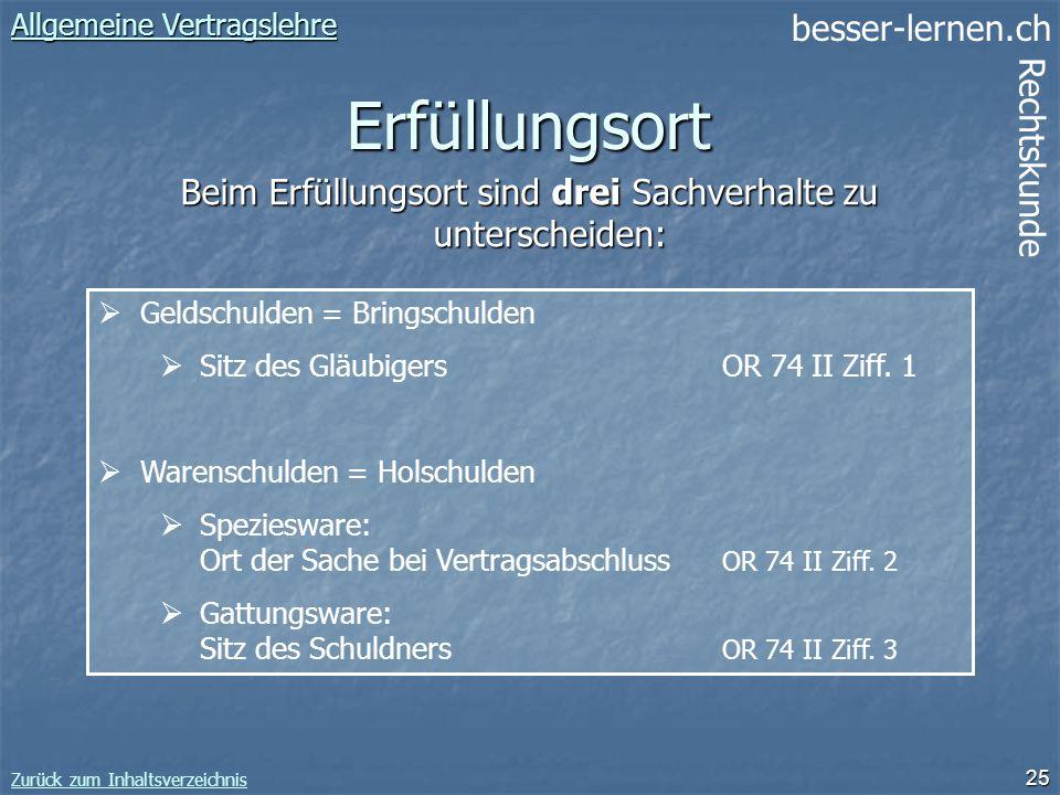 besser-lernen.ch Rechtskunde Zurück zum Inhaltsverzeichnis 25 Erfüllungsort Allgemeine Vertragslehre Allgemeine Vertragslehre Geldschulden = Bringschu