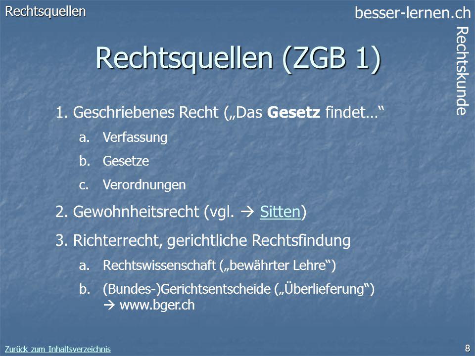 besser-lernen.ch Rechtskunde Zurück zum Inhaltsverzeichnis 8 Rechtsquellen (ZGB 1) Rechtsquellen 1.Geschriebenes Recht (Das Gesetz findet… a.Verfassun