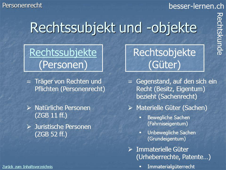 besser-lernen.ch Rechtskunde Zurück zum Inhaltsverzeichnis 9 Rechtssubjekt und -objekte Rechtssubjekte (Personen)Personenrecht =Träger von Rechten und