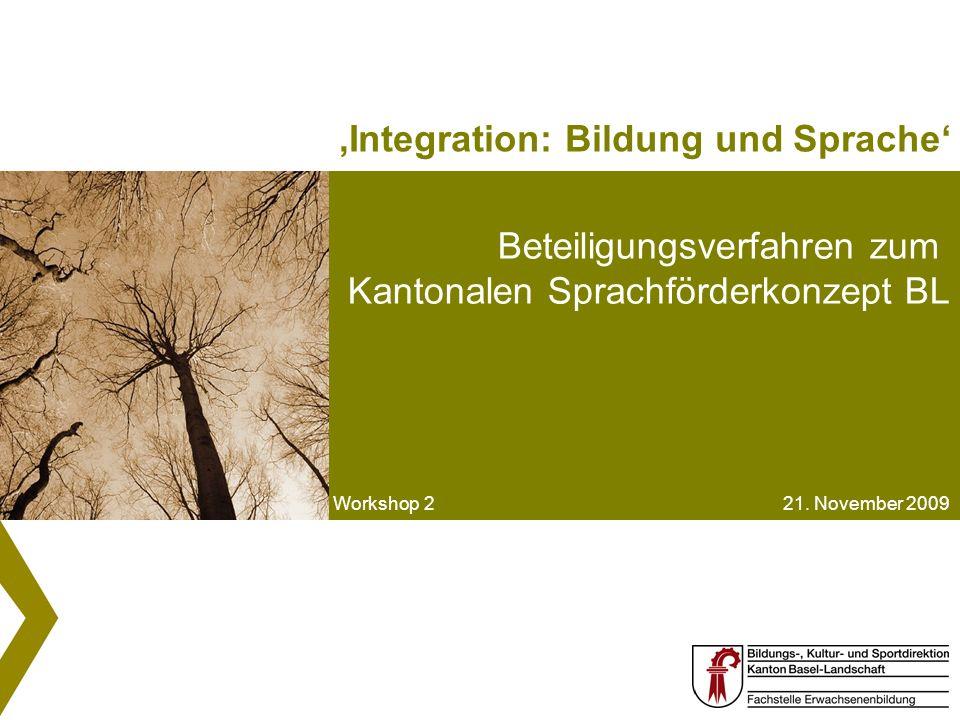 Der Rote Faden der Sprachförderung Workshop 2 21. November 2009 Beteiligungsverfahren zum Kantonalen Sprachförderkonzept BL Workshop 2 21. November 20