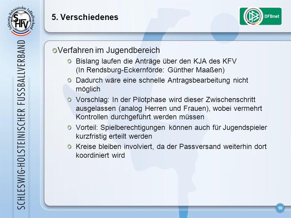 10 5. Verschiedenes Verfahren im Jugendbereich Bislang laufen die Anträge über den KJA des KFV (In Rendsburg-Eckernförde: Günther Maaßen) Dadurch wäre