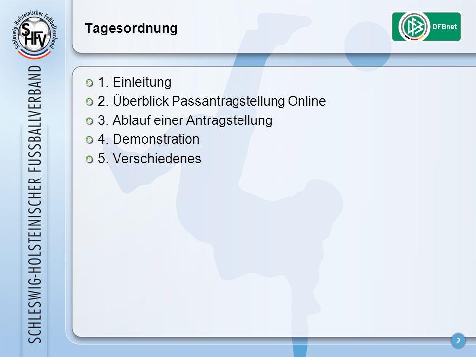 2 Tagesordnung 1. Einleitung 2. Überblick Passantragstellung Online 3. Ablauf einer Antragstellung 4. Demonstration 5. Verschiedenes