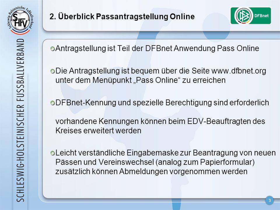 3 2. Überblick Passantragstellung Online Antragstellung ist Teil der DFBnet Anwendung Pass Online Die Antragstellung ist bequem über die Seite www.dfb