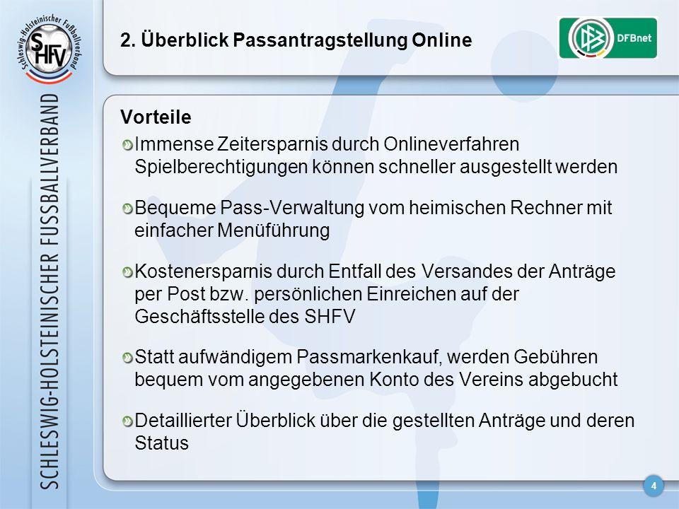 4 2. Überblick Passantragstellung Online Vorteile Immense Zeitersparnis durch Onlineverfahren Spielberechtigungen können schneller ausgestellt werden