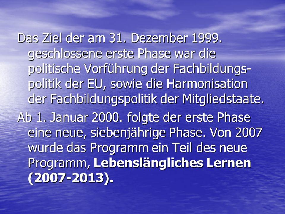 Das Ziel der am 31. Dezember 1999. geschlossene erste Phase war die politische Vorführung der Fachbildungs- politik der EU, sowie die Harmonisation de