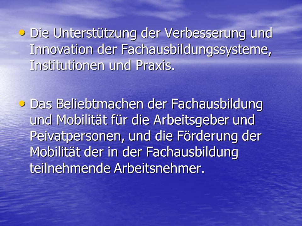 Die Unterstützung der Verbesserung und Innovation der Fachausbildungssysteme, Institutionen und Praxis. Die Unterstützung der Verbesserung und Innovat