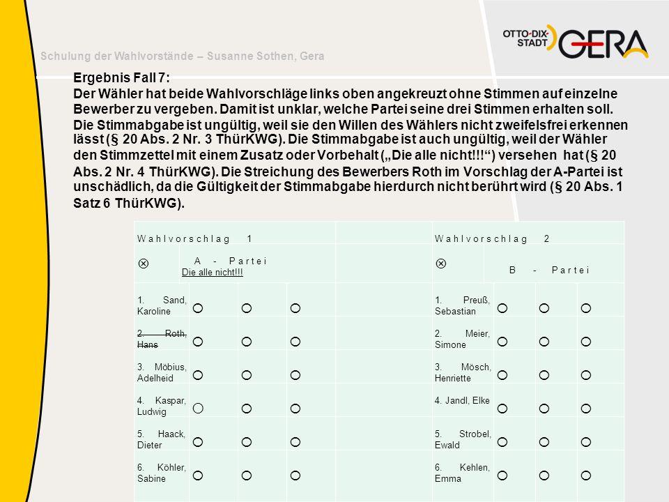 Schulung der Wahlvorstände – Susanne Sothen, Gera Ergebnis Fall 7: Der Wähler hat beide Wahlvorschläge links oben angekreuzt ohne Stimmen auf einzelne