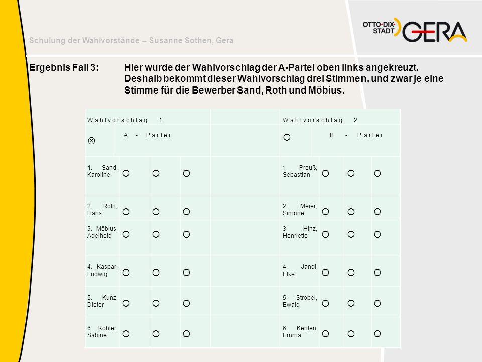 Schulung der Wahlvorstände – Susanne Sothen, Gera Ergebnis Fall 3: Hier wurde der Wahlvorschlag der A-Partei oben links angekreuzt. Deshalb bekommt di