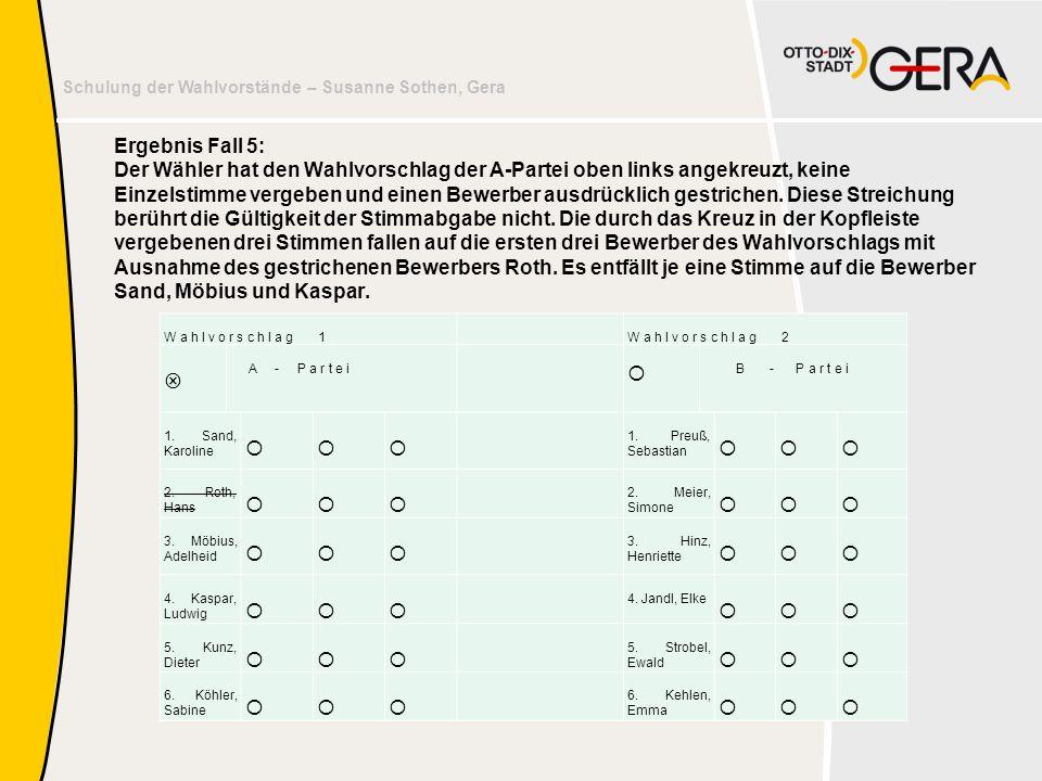 Schulung der Wahlvorstände – Susanne Sothen, Gera Ergebnis Fall 5: Der Wähler hat den Wahlvorschlag der A-Partei oben links angekreuzt, keine Einzelst