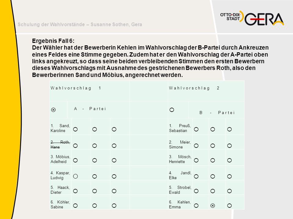 Schulung der Wahlvorstände – Susanne Sothen, Gera Ergebnis Fall 6: Der Wähler hat der Bewerberin Kehlen im Wahlvorschlag der B-Partei durch Ankreuzen