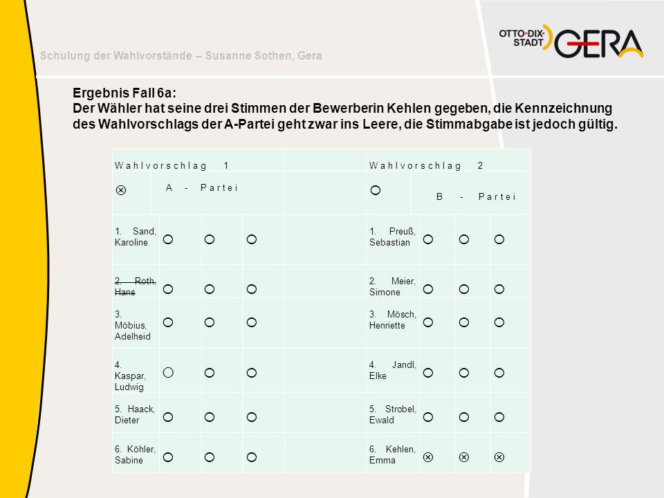 Schulung der Wahlvorstände – Susanne Sothen, Gera Ergebnis Fall 6a: Der Wähler hat seine drei Stimmen der Bewerberin Kehlen gegeben, die Kennzeichnung