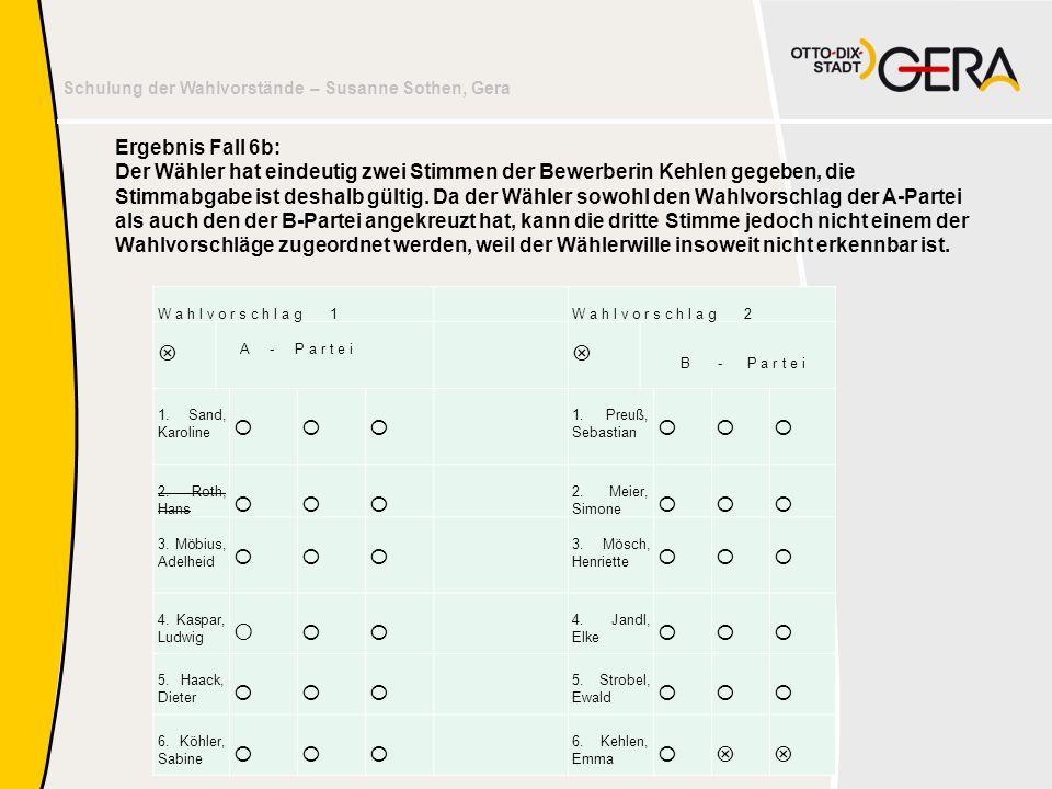 Schulung der Wahlvorstände – Susanne Sothen, Gera Ergebnis Fall 6b: Der Wähler hat eindeutig zwei Stimmen der Bewerberin Kehlen gegeben, die Stimmabga