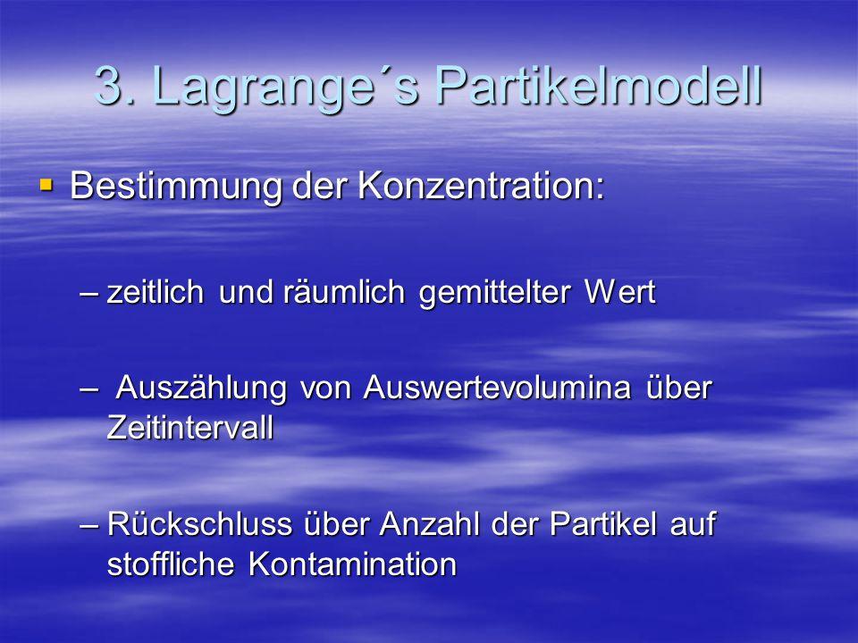 3. Lagrange´s Partikelmodell Bestimmung der Konzentration: Bestimmung der Konzentration: –zeitlich und räumlich gemittelter Wert – Auszählung von Ausw