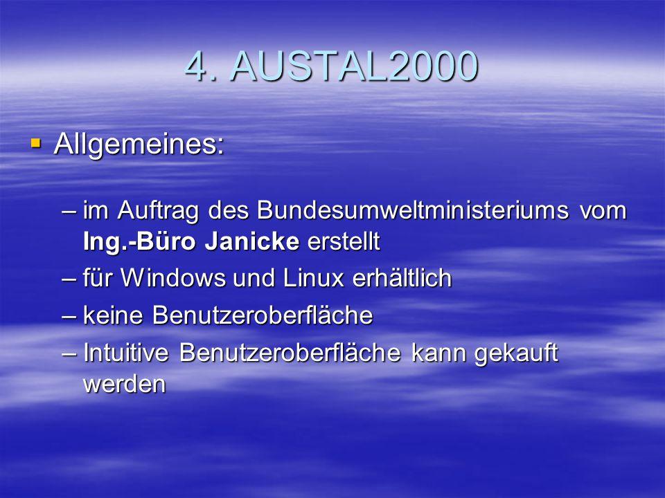 4. AUSTAL2000 Allgemeines: Allgemeines: –im Auftrag des Bundesumweltministeriums vom Ing.-Büro Janicke erstellt –für Windows und Linux erhältlich –kei