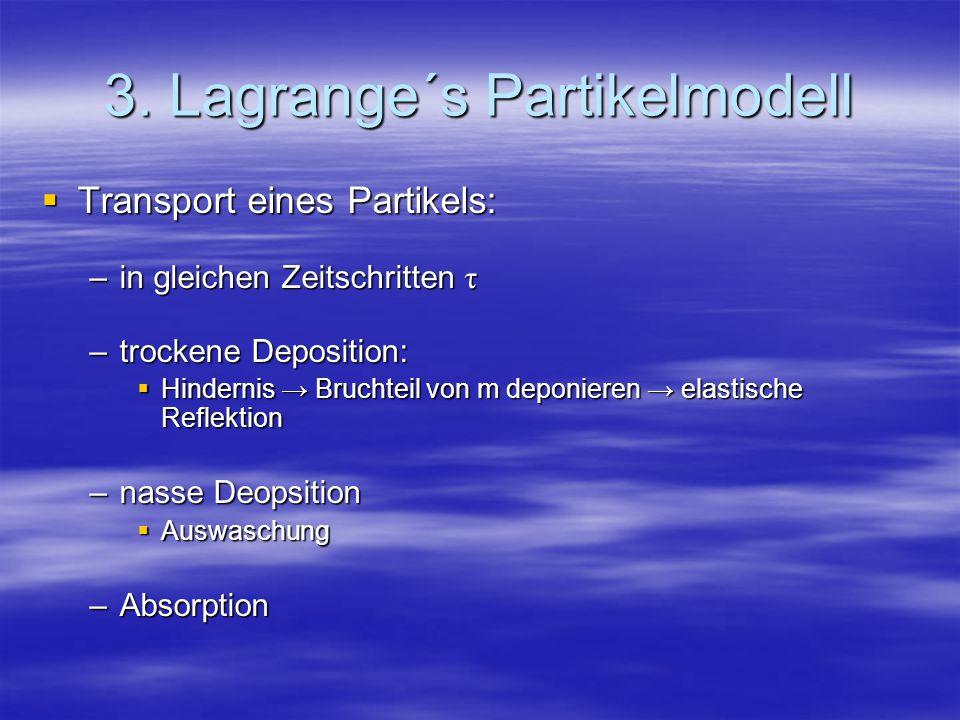 3. Lagrange´s Partikelmodell Transport eines Partikels: Transport eines Partikels: –in gleichen Zeitschritten τ –trockene Deposition: Hindernis Brucht