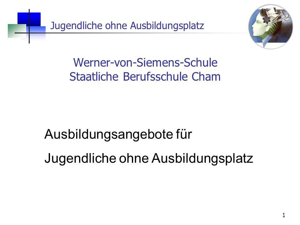 Jugendliche ohne Ausbildungsplatz 1 Werner-von-Siemens-Schule Staatliche Berufsschule Cham Ausbildungsangebote für Jugendliche ohne Ausbildungsplatz