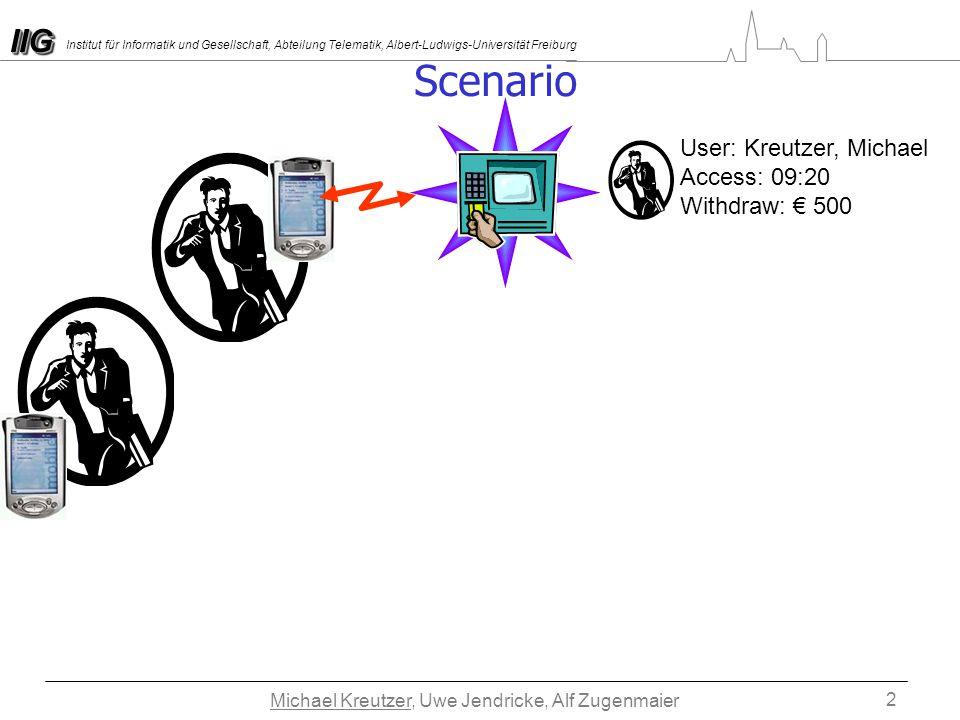IIGIIG Institut für Informatik und Gesellschaft, Abteilung Telematik, Albert-Ludwigs-Universität Freiburg Michael Kreutzer, Uwe Jendricke, Alf Zugenmaier 2 Scenario User: Kreutzer, Michael Access: 09:20 Withdraw: 500