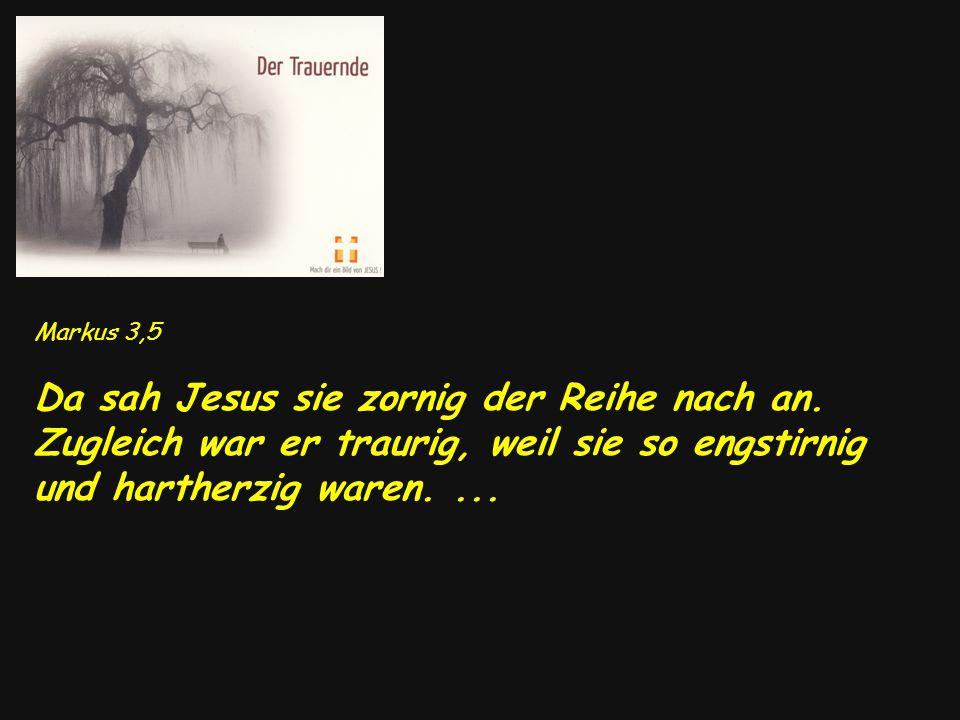 Markus 3,5 Da sah Jesus sie zornig der Reihe nach an. Zugleich war er traurig, weil sie so engstirnig und hartherzig waren....