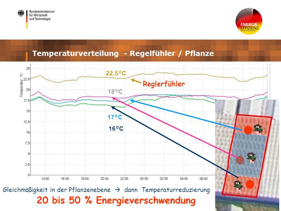 Reglerfühler 16°C 17°C 18°C 22,5°C 20 bis 50 % Energieverschwendung Gleichmäßigkeit in der Pflanzenebene dann Temperaturreduzierung Temperaturverteilung - Regelfühler / Pflanze