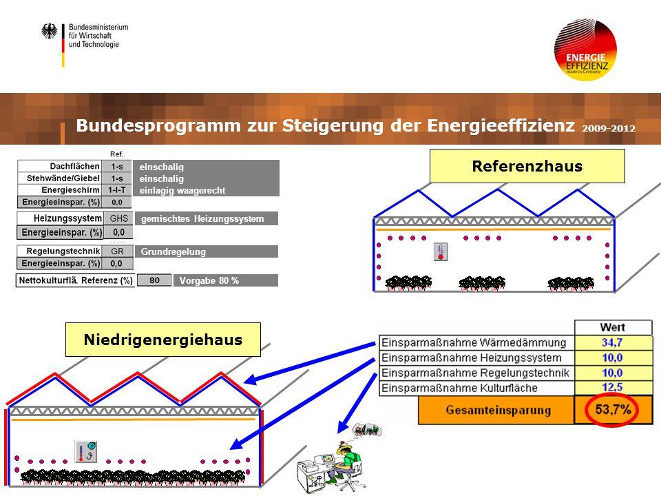 gemischtes Heizungssystem Grundregelung Vorgabe 80 % einschalig einlagig waagerecht einschalig Bundesprogramm zur Steigerung der Energieeffizienz 2009-2012 Niedrigenergiehaus Referenzhaus