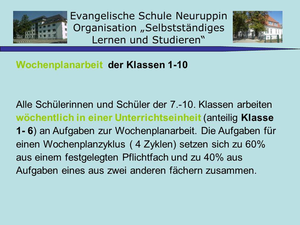 Evangelische Schule Neuruppin Organisation Selbstständiges Lernen und Studieren Wochenplanarbeit der Klassen 1-10 Alle Schülerinnen und Schüler der 7.-10.