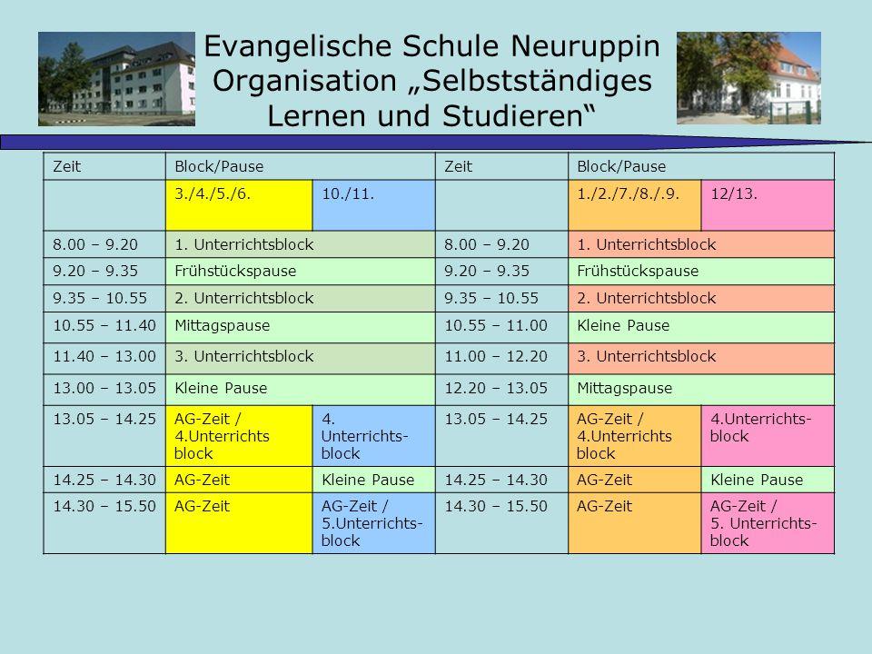 Evangelische Schule Neuruppin Organisation Selbstständiges Lernen und Studieren ZeitBlock/PauseZeitBlock/Pause 3./4./5./6.10./11.1./2./7./8./.9.12/13.