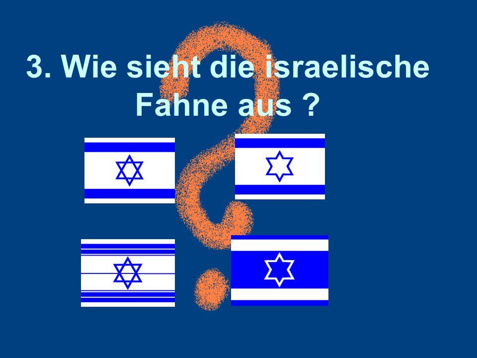 3. Wie sieht die israelische Fahne aus ?