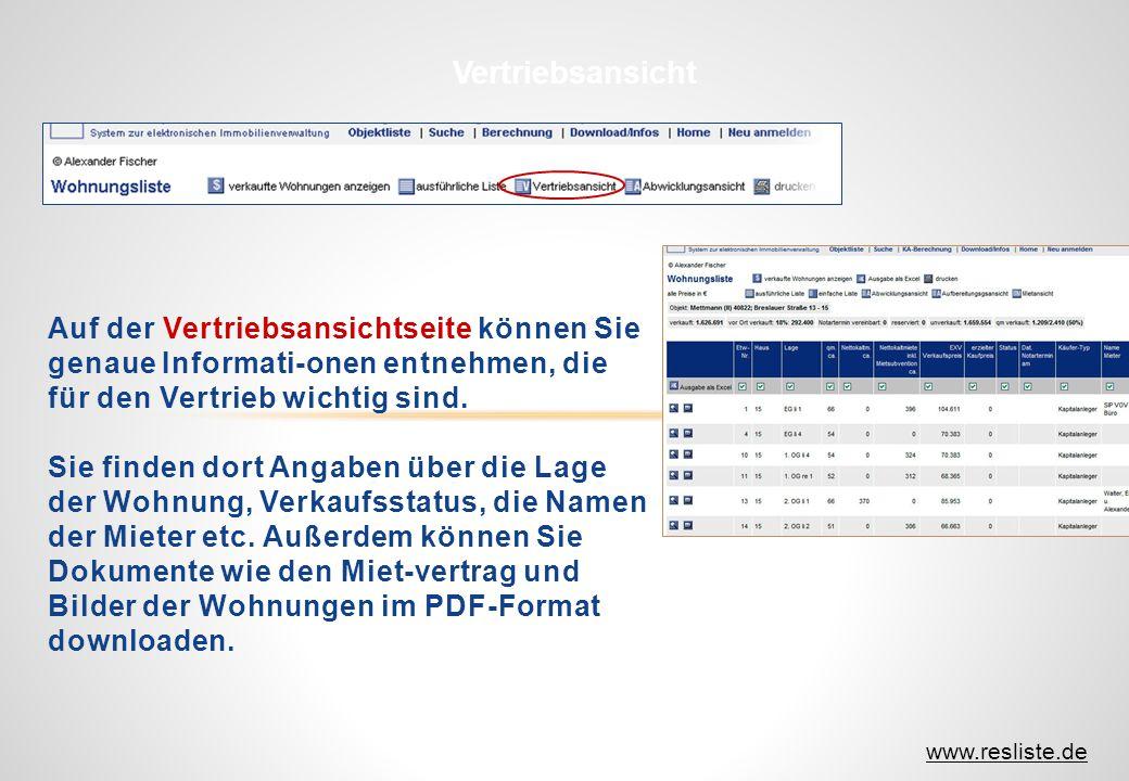 Auf der Vertriebsansichtseite können Sie genaue Informati-onen entnehmen, die für den Vertrieb wichtig sind. Sie finden dort Angaben über die Lage der