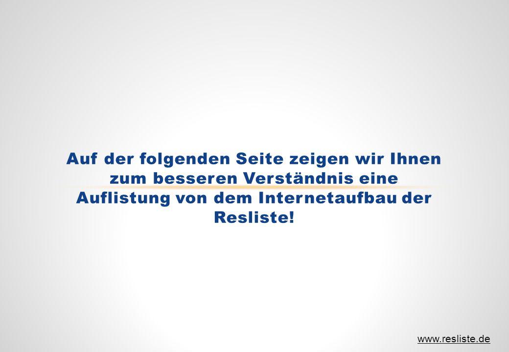 Auf der folgenden Seite zeigen wir Ihnen zum besseren Verständnis eine Auflistung von dem Internetaufbau der Resliste! www.resliste.de