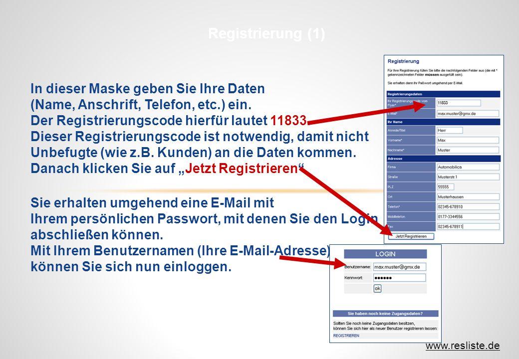 11833 In dieser Maske geben Sie Ihre Daten (Name, Anschrift, Telefon, etc.) ein. Der Registrierungscode hierfür lautet 11833. Dieser Registrierungscod