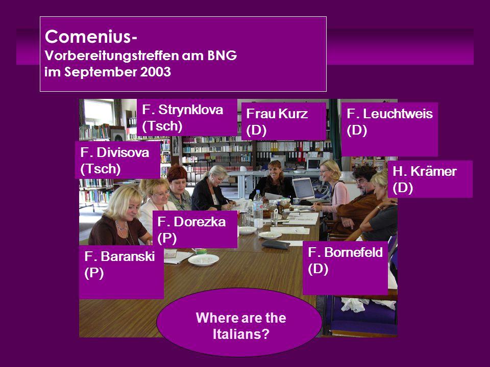 Comenius- Vorbereitungstreffen am BNG im September 2003 Frau Kurz (D) H. Krämer (D) F. Bornefeld (D) F. Divisova (Tsch) F. Strynklova (Tsch) F. Dorezk