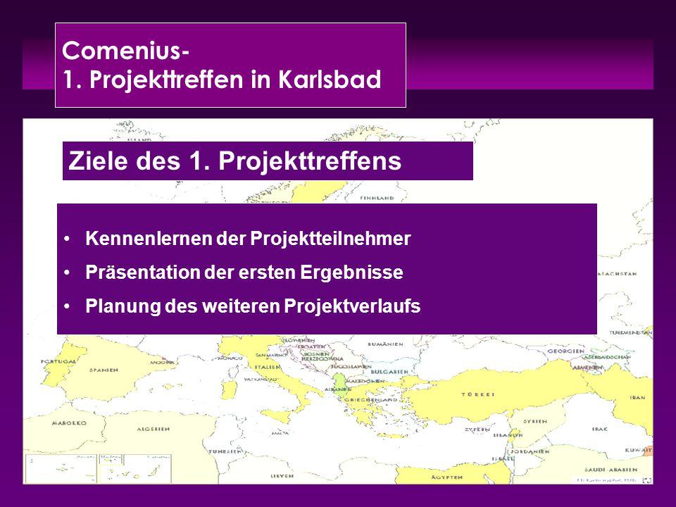 Comenius- 1. Projekttreffen in Karlsbad Kennenlernen der Projektteilnehmer Präsentation der ersten Ergebnisse Planung des weiteren Projektverlaufs Zie