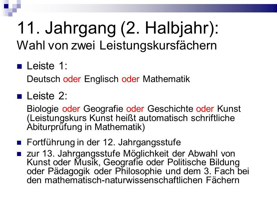 Abitur (Zentralabitur) 1.Prüfungsfach = 1. Leistungskursfach 2.