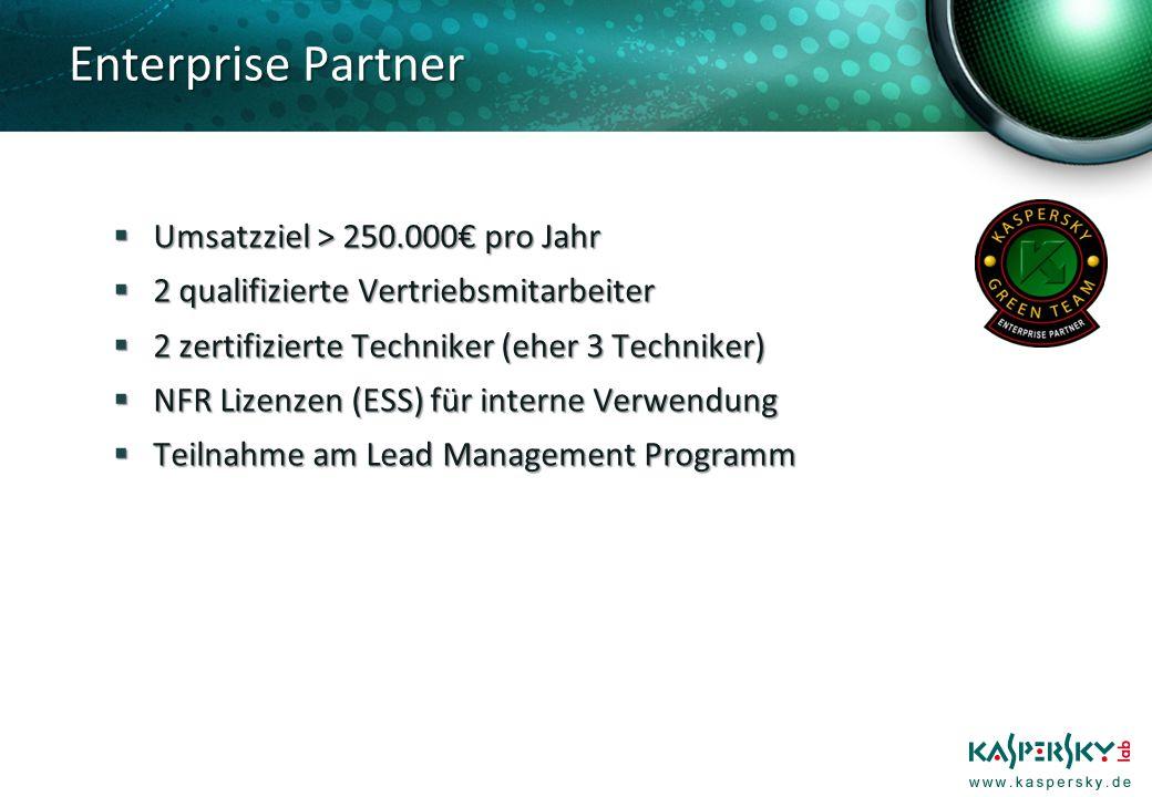 Umsatzziel > 250.000 pro Jahr Umsatzziel > 250.000 pro Jahr 2 qualifizierte Vertriebsmitarbeiter 2 qualifizierte Vertriebsmitarbeiter 2 zertifizierte Techniker (eher 3 Techniker) 2 zertifizierte Techniker (eher 3 Techniker) NFR Lizenzen (ESS) für interne Verwendung NFR Lizenzen (ESS) für interne Verwendung Teilnahme am Lead Management Programm Teilnahme am Lead Management Programm Enterprise Partner
