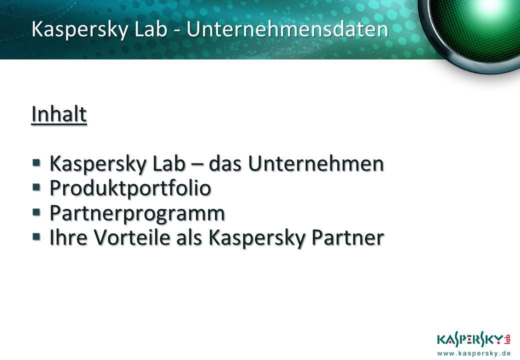 Kaspersky Lab - Unternehmensdaten Gegründet 1997 und im Privatbesitz Gegründet 1997 und im Privatbesitz 17 Jahre Erfahrung im AV-Segment 17 Jahre Erfahrung im AV-Segment Hauptsitz in Moskau, russische Föderation Hauptsitz in Moskau, russische Föderation Niederlassungen u.a.