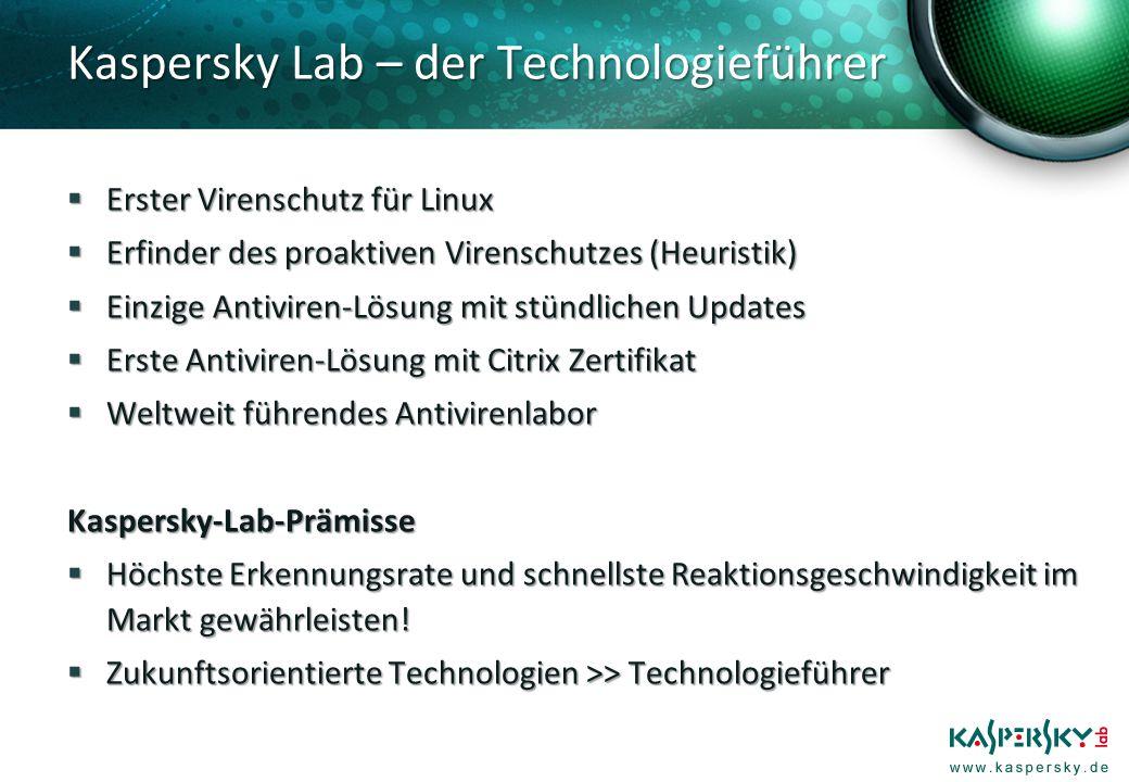 Kaspersky Lab – der Technologieführer Erster Virenschutz für Linux Erster Virenschutz für Linux Erfinder des proaktiven Virenschutzes (Heuristik) Erfinder des proaktiven Virenschutzes (Heuristik) Einzige Antiviren-Lösung mit stündlichen Updates Einzige Antiviren-Lösung mit stündlichen Updates Erste Antiviren-Lösung mit Citrix Zertifikat Erste Antiviren-Lösung mit Citrix Zertifikat Weltweit führendes Antivirenlabor Weltweit führendes AntivirenlaborKaspersky-Lab-Prämisse Höchste Erkennungsrate und schnellste Reaktionsgeschwindigkeit im Markt gewährleisten.