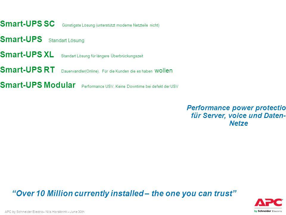 APC by Schneider Electric– Nils Horstbrink – June 30th Smart-UPS SC Günstigste Lösung (unterstützt moderne Netzteile nicht) Smart-UPS Standart Lösung