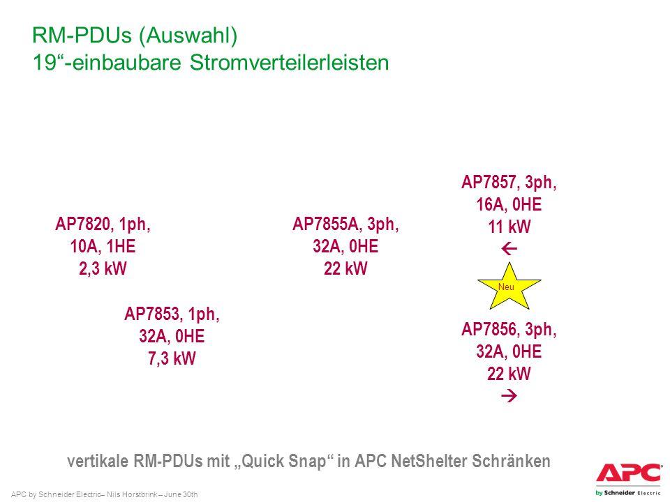 APC by Schneider Electric– Nils Horstbrink – June 30th RM-PDUs (Auswahl) 19-einbaubare Stromverteilerleisten AP7820, 1ph, 10A, 1HE 2,3 kW AP7853, 1ph,