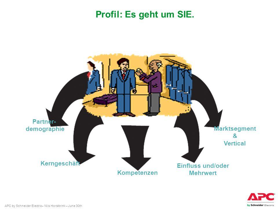 APC by Schneider Electric– Nils Horstbrink – June 30th Profil: Es geht um SIE. Partner- demographie Einfluss und/oder Mehrwert Kerngeschäft Marktsegme