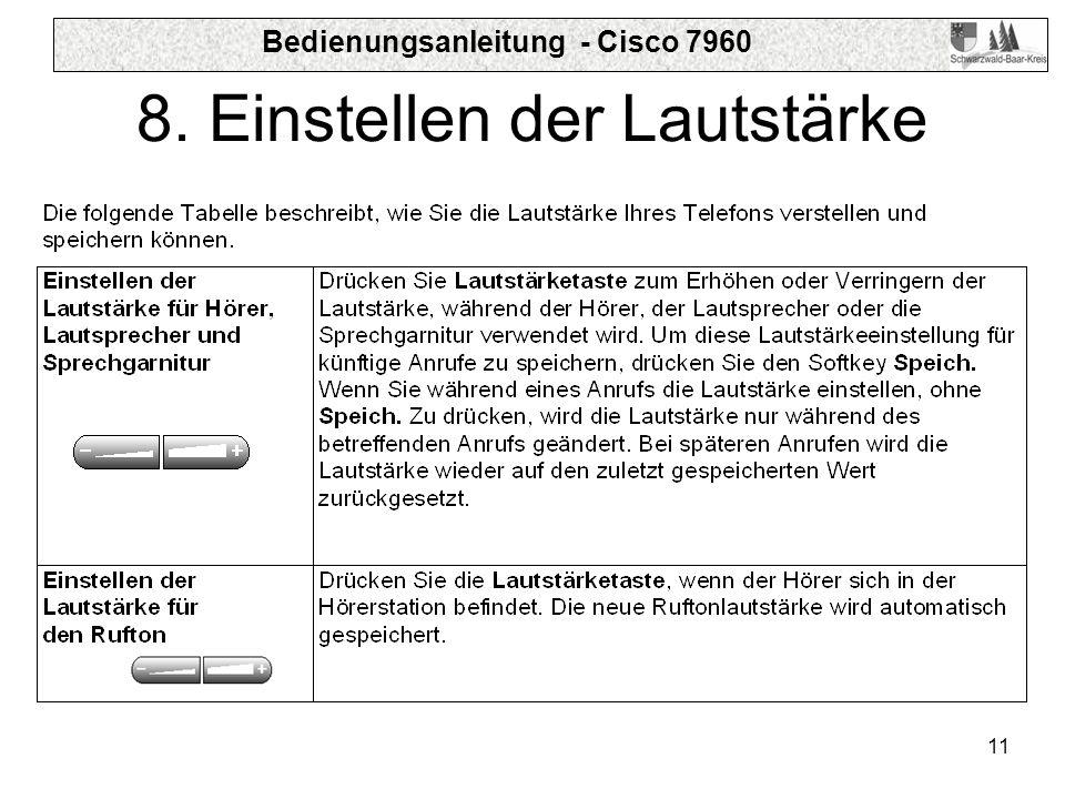 Bedienungsanleitung - Cisco 7960 11 8. Einstellen der Lautstärke